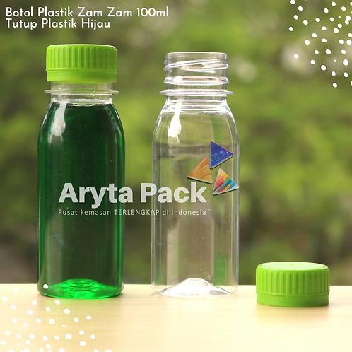 Botol plastik PET 100ml zam-zam tutup segel hijau
