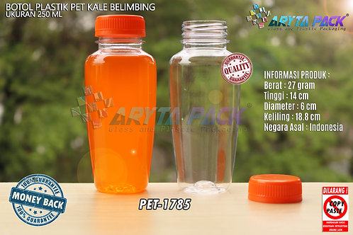 Botol plastik minuman 250ml jus kale belimbing tutup orange segel