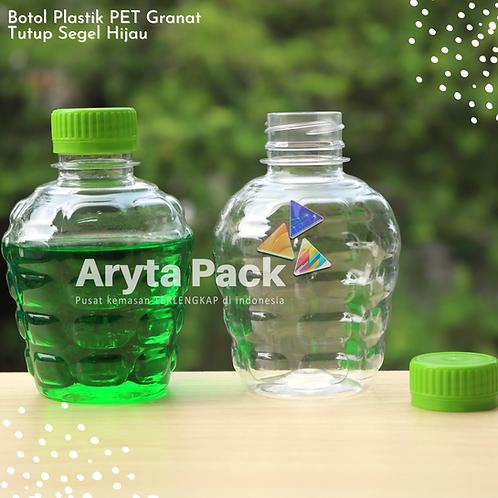 Botol plastik pet 250ml granat c tutup segel hijau