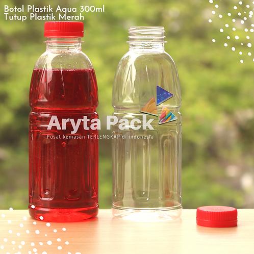 Botol plastik pet 300ml aqua aneka tutup segel merah