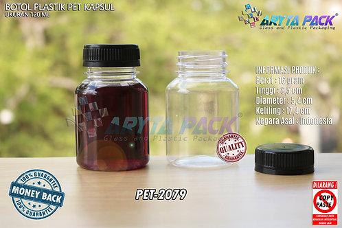 Botol plastik minuman 120ml kapsul tutup hitam segel
