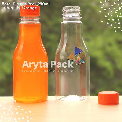 Botol plastik minuman 250ml pear tutup segel orange