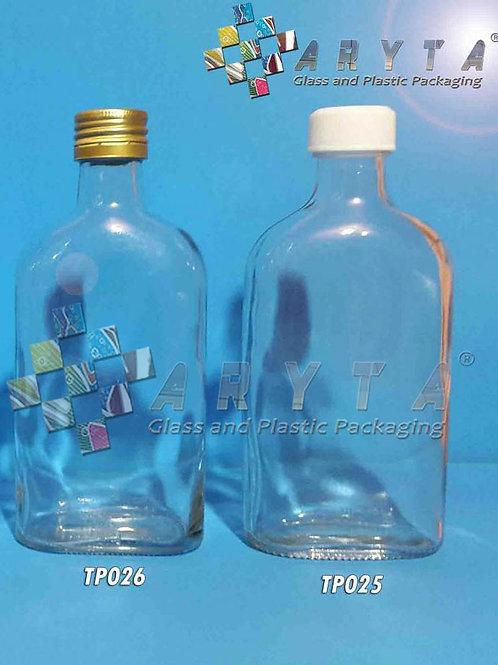 Botol kaca bening gepeng 250ml second tutup putih plastik