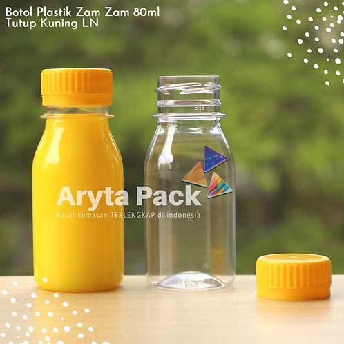 Botol plastik PET 80ml zam-zam tps tutup segel kuning