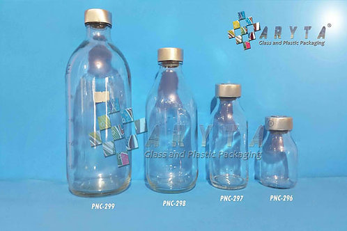 Botol kaca bening 500ml injeksi second tutup kaleng