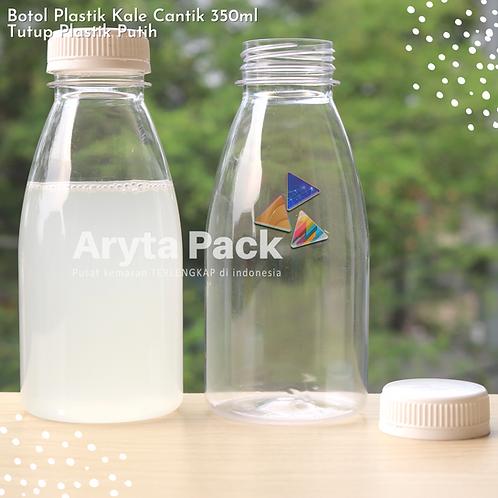 Botol plastik minuman kale cantik 350ml tutup segel putih