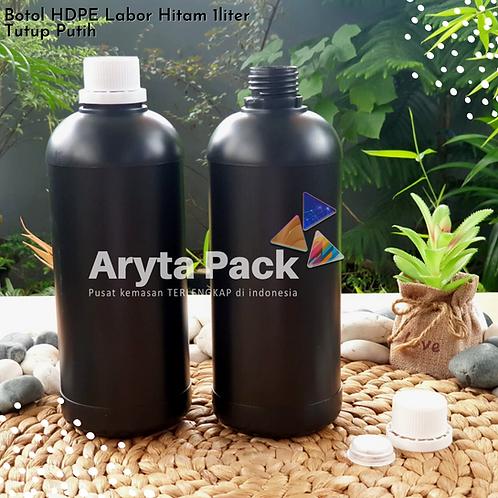 Botol plastik HDPE 1 liter labor hitam tutup putih