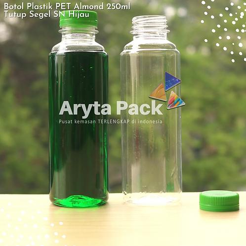 Botol plastik minuman 250ml almond tutup segel hijau