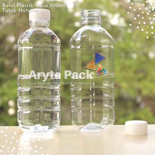 Botol plastik pet 500ml aqua tutup segel natural