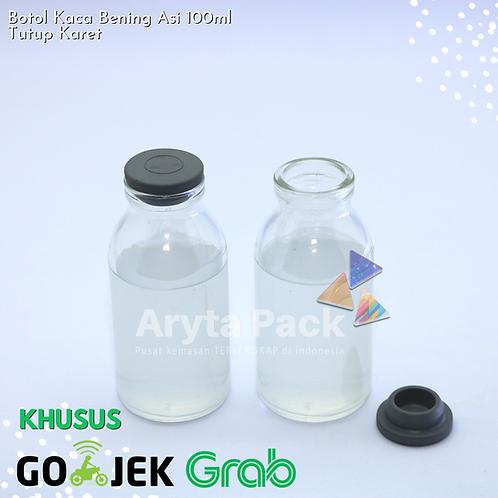 Botol kaca bening 100ml ASI new tutup karet