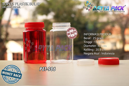 Toples plastik PET 330ml Bulat tutup merah