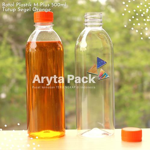 Botol plastik minuman 500ml M-plus tutup orange segel