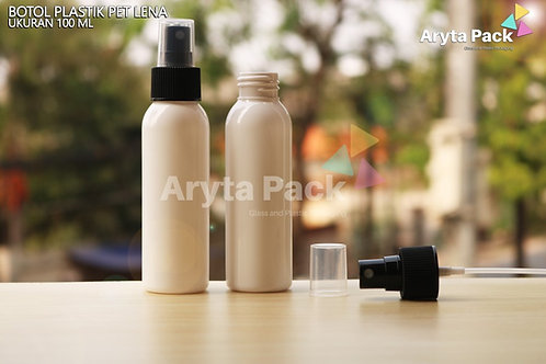 Botol plastik PET Lena putih susu 100ml tutup spray hitam