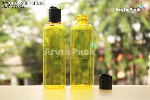 Botol plastik PET Joni 250ml kuning tutup press on hitam
