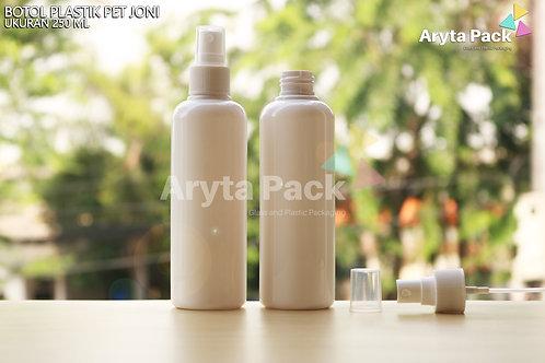 Botol plastik PET 250ml joni putih susu tutup spray putih susu