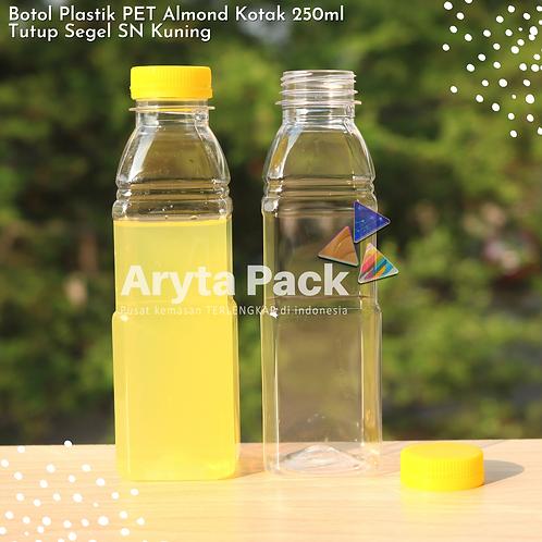Botol plastik minuman 250ml almond kotak tutup segel kuning