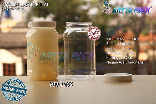 Toples plastik PET 450ml bulat tutup putih