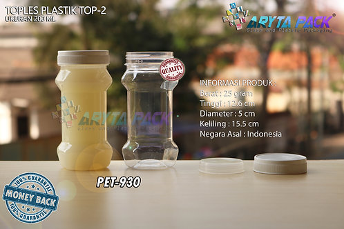 Toples plastik PET 200ml TOP-2 tutup putih