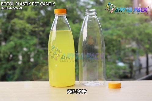 Botol plastik minuman cantik 600ml tutup segel kuning