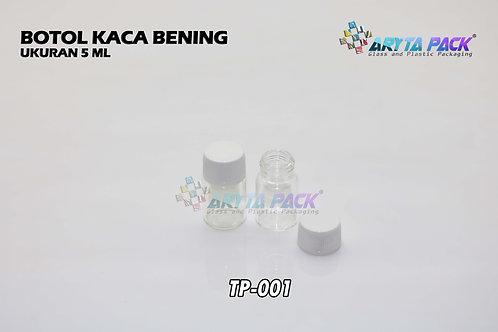 Botol kaca bening 5ml new tutup plastik ulir putih
