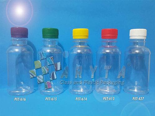 Botol plastik minuman 100ml HMK tutup segel merah