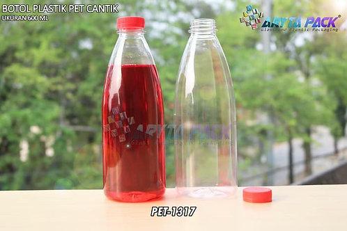 Botol plastik minuman cantik 600ml tutup segel merah