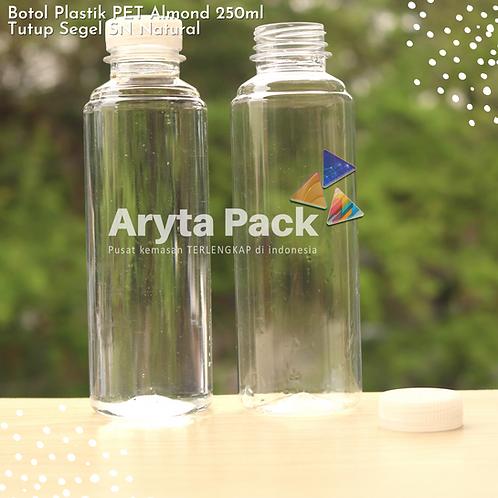 Botol plastik minuman 250ml almond tutup segel natural