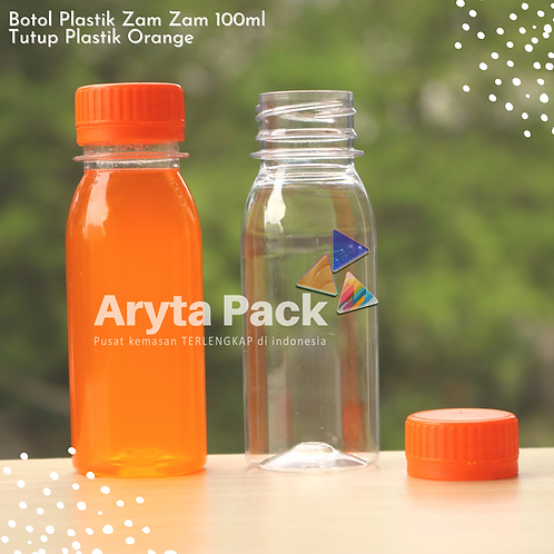 Botol plastik PET 100ml zam-zam tutup segel orange