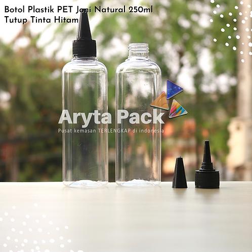 Botol plastik PET 250ml Joni tutup tinta hitam