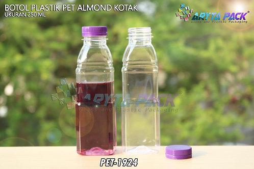 Botol plastik minuman 250ml almond kotak tutup segel ungu