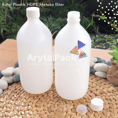 Botol plastik HDPE 1 liter metako tutup ulir
