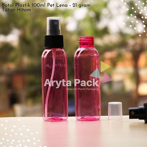 Botol plastik PET Lena pink 100ml tutup spray hitam