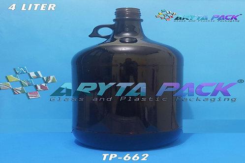 Botol kaca coklat 4 liter second tutup plastik