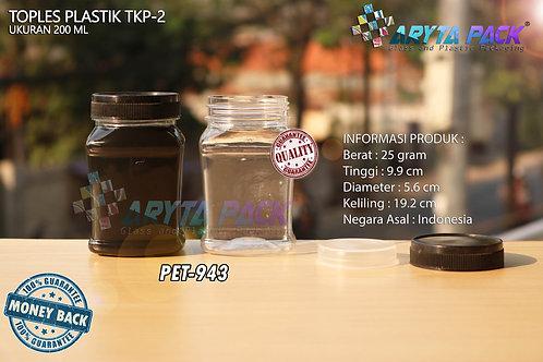Toples plastik PET 200ml TKP-2 tutup hitam
