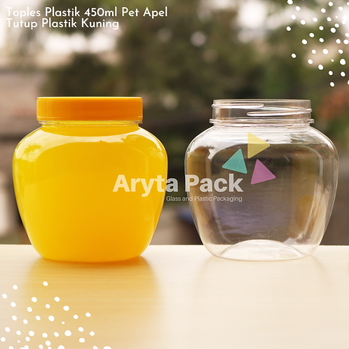 Toples plastik PET 450ml apel tutup kuning