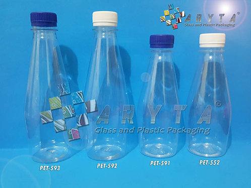Botol plastik PET 370ml Bowling tutup putih segel