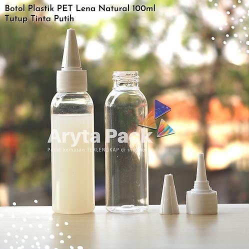 Botol plastik PET 100ml Lena tutup tinta putih