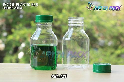 Botol plastik minuman 250ml BKB tutup segel hijau