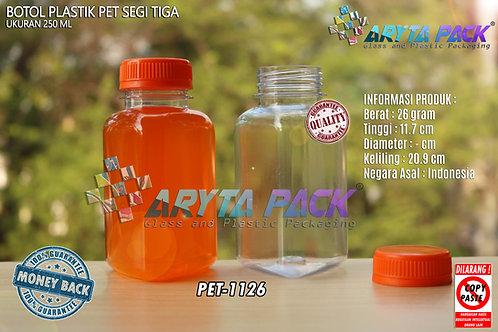 Botol plastik minuman segitiga 250ml tutup orange