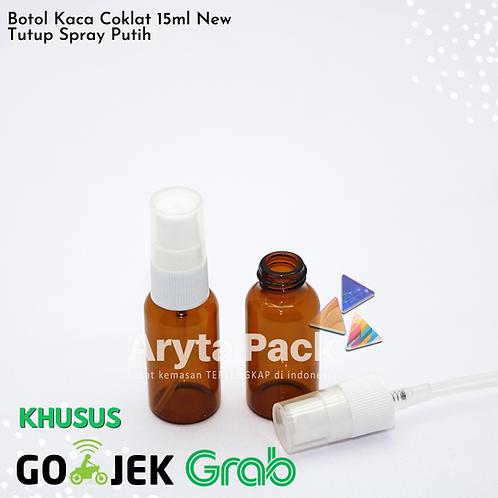 Botol kaca coklat 15ml new tutup spray