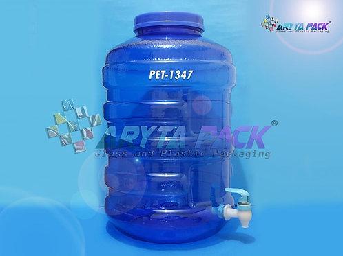Galon plastik PET 20 liter biru tutup ulir + keran
