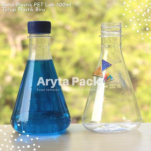 Botol plastik minuman 300ml lab tutup segel biru
