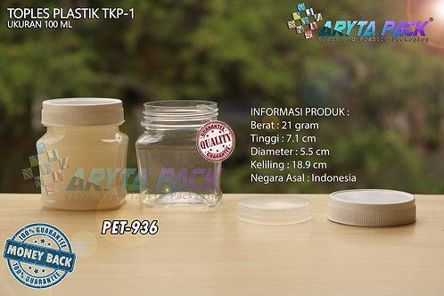 Toples plastik PET 100ml TKP-1 tutup putih