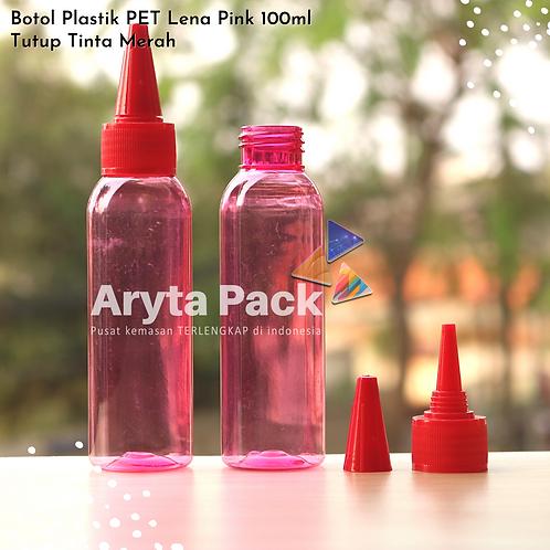 Botol plastik PET 100ml Lena pink tutup tinta merah