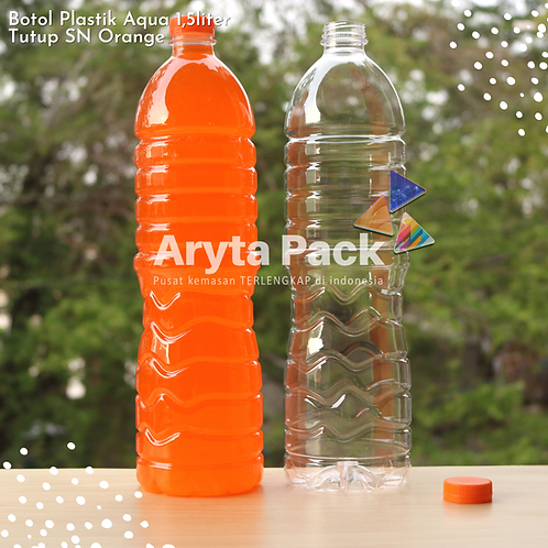 Botol plastik pet 1,5liter aqua tutup segel pendek orange