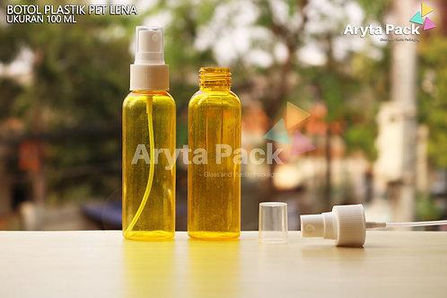 Botol plastik PET Lena kuning 100ml tutup spray putih susu
