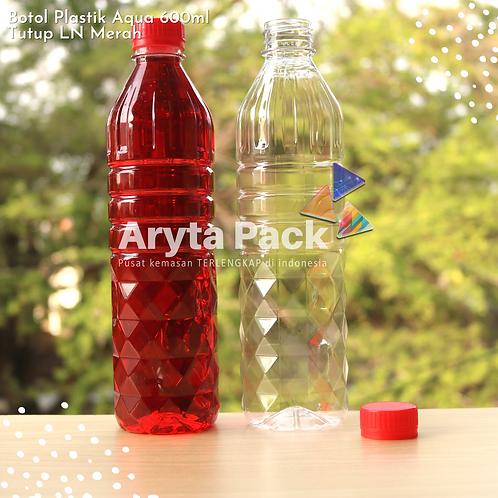 Botol plastik pet 600ml aqua tutup segel merah