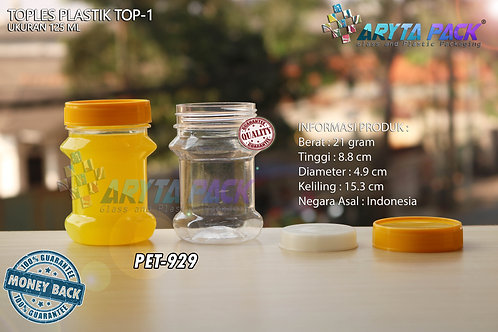 Toples plastik PET 125ml TOP-1 tutup kuning