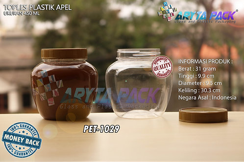 Toples plastik PET 450ml apel tutup gold