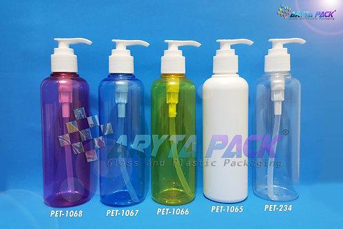 Botol plastik PET 250ml Joni natural tutup pump putih susu
